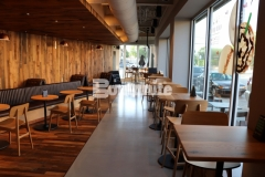 Featured here is Bomanite Modena SL decorative concrete flooring that was expertly installed by our associate, Musselman & Hall Contractors, at a Starbucks coffeehouse in Kansas City and the durable, polished finish beautifully complements the warm wood, copper accents, and natural lighting.