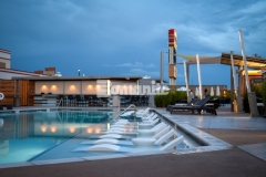 Bomanite Alloy decorative concrete was the perfect choice to create this pool decking because it unifies the hardscape while adding sophistication and sparkle with a luxurious architectural design that perfectly accentuates the nighttime glamour at the Tulsa Hard Rock Hotel & Casino.