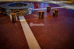 The Choctaw Cultural Center chose Bomanite Revealed glass aggregate decorative concrete to create the colorful entrance and circle surrounding the firepit and although this application is traditionally meant for exterior applications, the client desired an exposed look, which was the perfect choice to provide a rich and resilient finish.