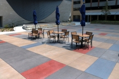 Featured here is Bomanite Sandscape Texture that was installed with a detailed stain pattern to add visual appeal to the hardscape while harmonizing with the surrounding architecture to create visual continuity throughout the space.