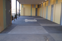 Bomanite Sandscape Texture was chosen for this exterior space because it is a highly durable and cost effective architectural concrete finishing option that utilizes specialized concrete mix designs containing select sands and aggregates and the installation by our colleague Bomanite of Tulsa, Inc. provided the newly constructed Tulsa County Family Center for Juvenile Justice with a stunning decorative concrete walkway and front entry.