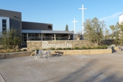 Sandscape Refined Antico decorative concrete by Bomanite was installed here to create a hardscape surface at CrossCity Christian Church that establishes a cohesive connection between the multi-use gathering spaces across the church campus.