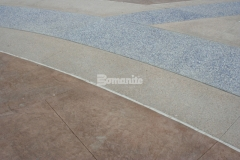 Multiple Bomanite Systems were utilized here to create a distinct decorative concrete hardscape, including 1,700 SF of Bomanite Slate Texture imprinted concrete that surrounds bands of Bomanite Sandscape Texture and Bomanite Revealed and adds a unique design feature with extreme durability.
