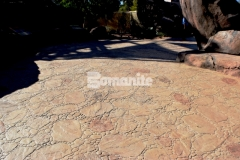 The Bomanite Bomacron Garden Stone imprint pattern was used here with Bomanite Sand Integral Color and varying accents of Autumn Brown and Forest Brown Color Hardeners to create a hardscape surface that will provide protection from the outdoor elements and durability to stand up to the toughest traffic loads.