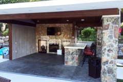 Bomanite Imprint Systems were installed here by our associate, Concrete Arts, to create a distinctive, decorative concrete cabana flooring and the homeowner chose an integral gray color for the base that was stamped with the Bomacron Slate Texture pattern and then antiqued and color washed in a darker gray to create this perfect, peaceful retreat.